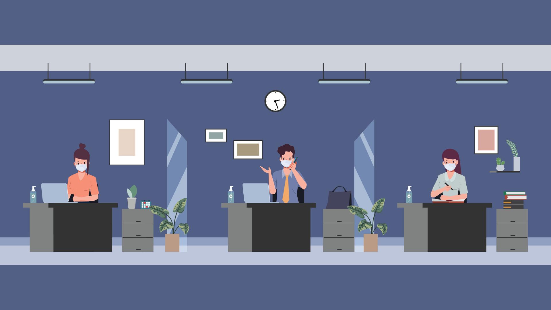 Komplett Bedrift smittevern på kontoret med skillevegger og bordskjermer i plexiglass eller filt