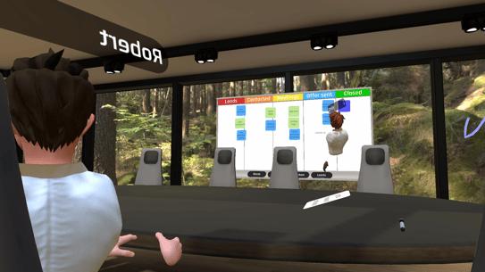 Virtuelt møterom og presentasjonstavle med VR-briller