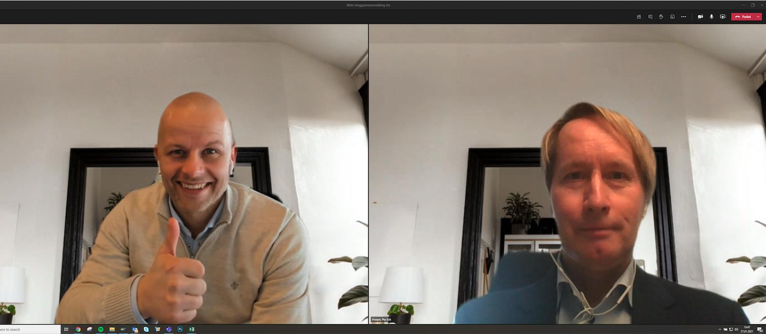Anders Odden i Komplett Bedrift (t.v) og Per-Erik Hveem i Telia Enterprise